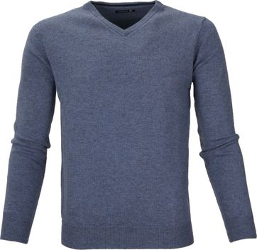 Suitable Pullover Lamswol V-Hals Lichtblauw