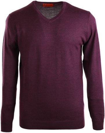 Detail Suitable Pullover Merino Wol Bordeaux