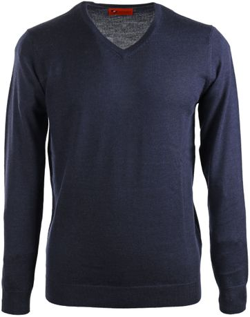 Suitable Pullover Merino Wol Donkerblauw