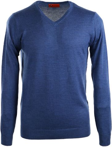 Suitable Pullover Merino Wol Indigo Blauw