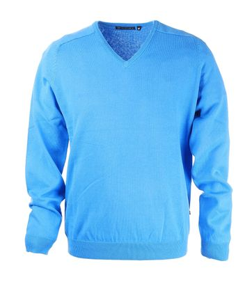 Suitable Pullover V-Ausschnitt Baumwolle Mid Blue Light