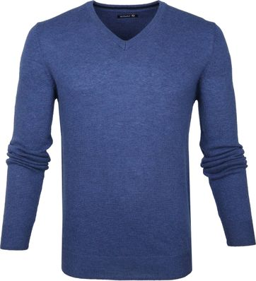 Suitable Pullover V-Hals Lamswol Blauw