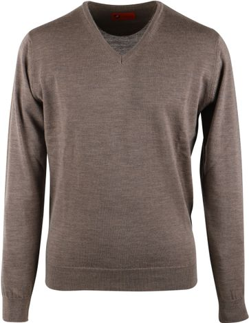 Suitable Pullover V-Hals Merinowolle Braun