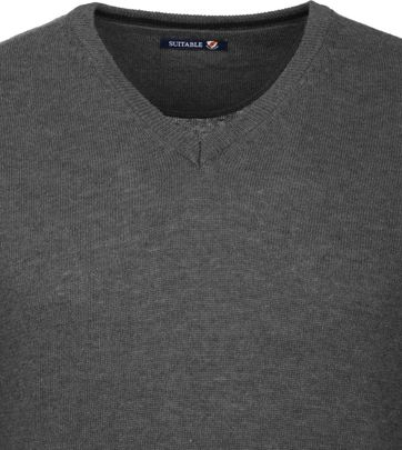 Suitable Pullover V-Neck Lambswool Grey