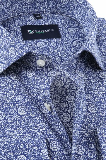 Suitable Respect Overhemd Print Navy