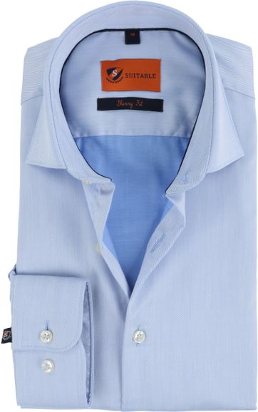 Suitable Shirt Blue Skinny Fit