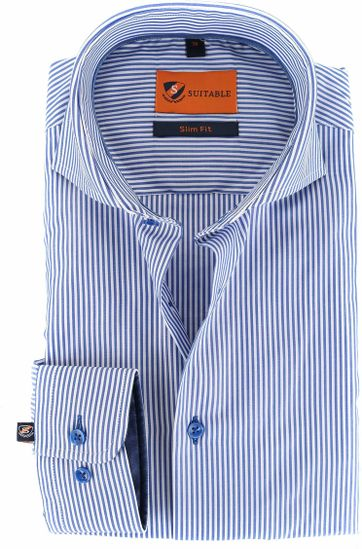 Suitable Shirt Blue Stripe 156-4