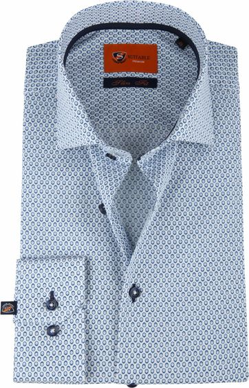 Suitable Shirt Blue Stripes Eyes Slim Fit