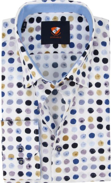 Suitable Shirt Bolls Blue Beige