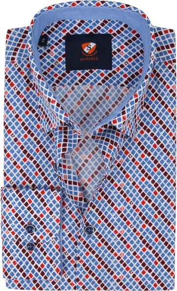 Suitable Shirt Check Blue Red
