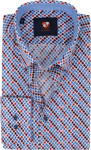 Suitable Shirt Checkered Blue Red