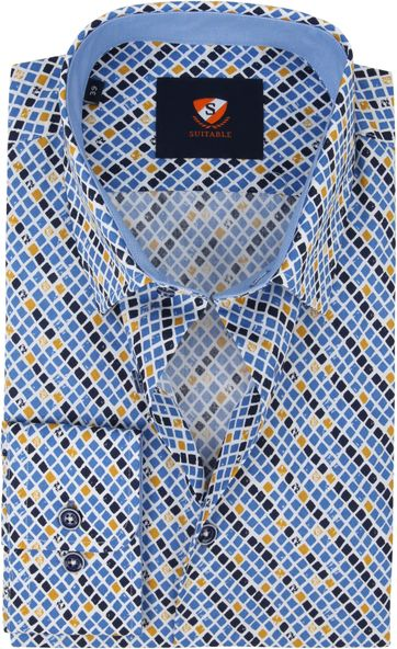 Suitable Shirt Checkered Blue Yellow