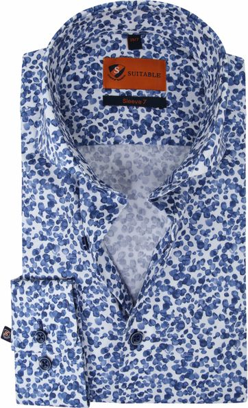 Suitable Shirt Extra Long Sleeve Aquarel Dots Blue