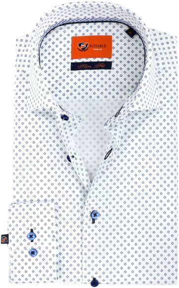 Suitable Shirt Flower White Blue