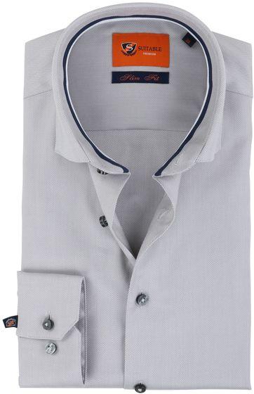 Suitable Shirt Herringbone Grey