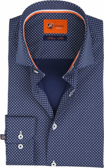 Suitable Shirt Navy Carre