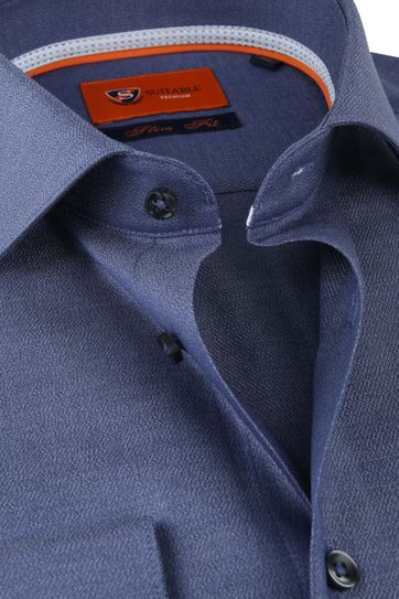 Suitable Shirt Navy Slim Fit