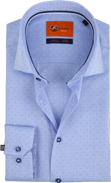 Suitable Shirt Oxford Dots Blue