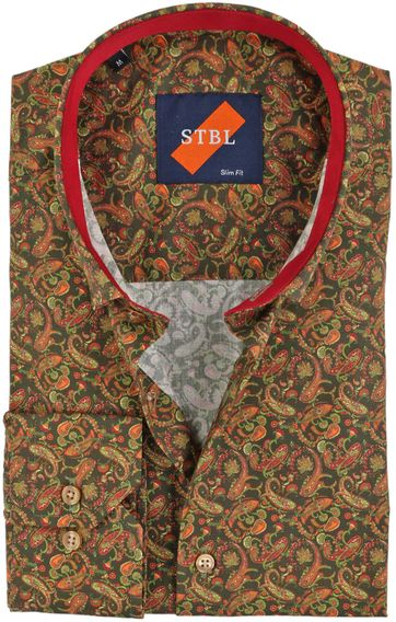Suitable Shirt Paisley Green