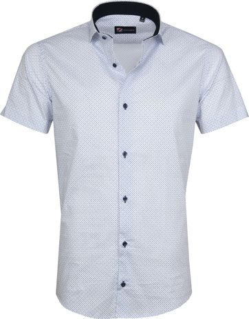 Suitable Shirt SS Carre White Blue