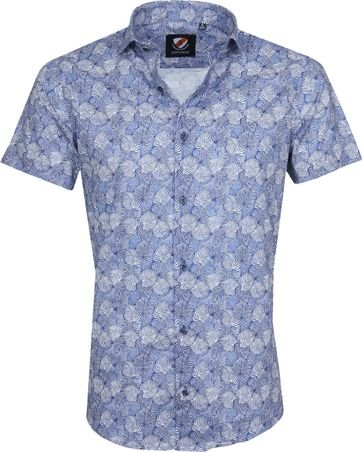 Suitable Shirt SS Leaves Blue