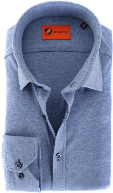Suitable Shirt Stretch Light Blue
