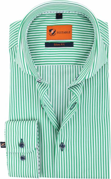 Suitable Shirt Stripes Green 174-6