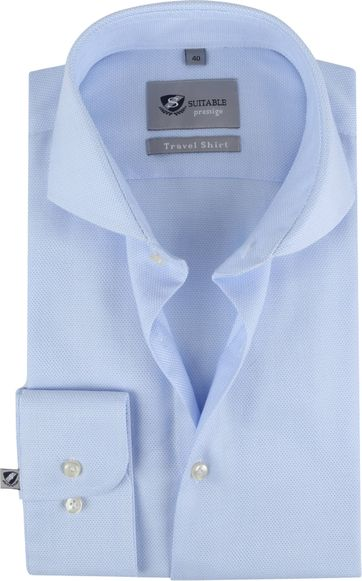 Suitable Shirt Travel Blue Jacquard