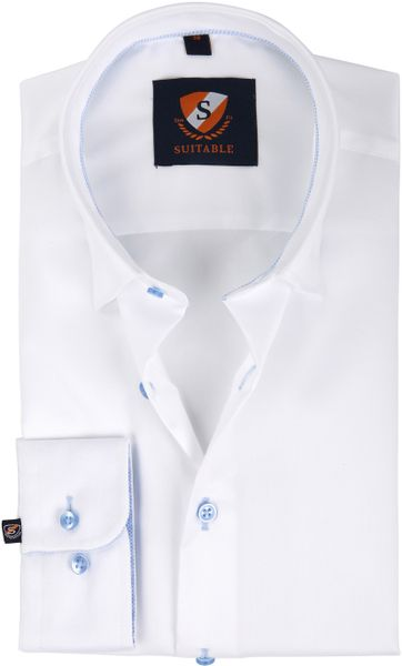 Suitable Shirt White Blue Twill