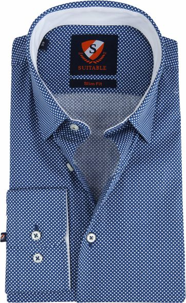 Suitable Shirt Willem Indigo Dessin