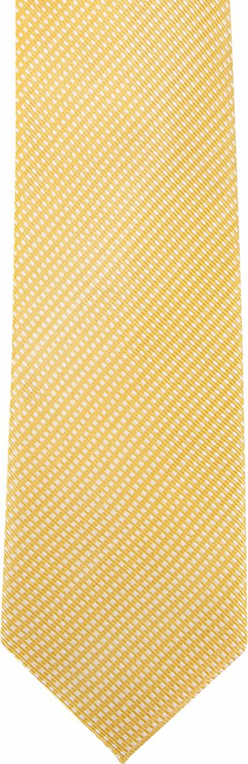 Suitable Silk Tie Side Checks Yellow F91-22