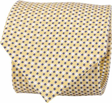 Suitable Silk Tie Side Checks Yellow F91-5