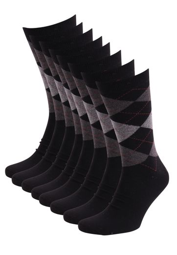 Suitable Socken Kariert Schwarz 8-Pack