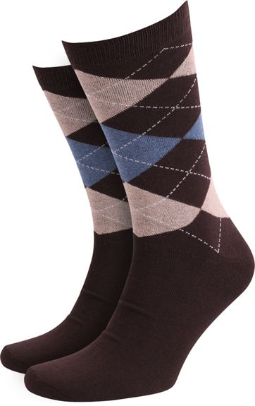 Suitable Socks Checkered Brown