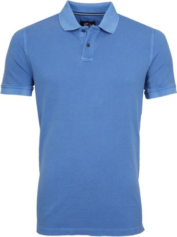 Suitable Stone Wash Poloshirt Blau