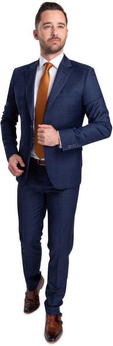 Suitable Strato Anzug Dunkelblau Kariert