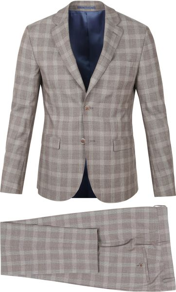 Suitable Strato Suit Check Beige