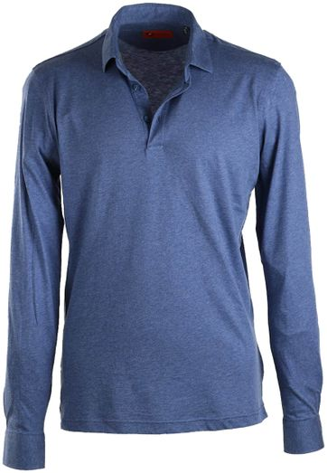 Suitable Stretch Longsleeve Polo Blauw