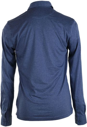 Detail Suitable Stretch Longsleeve Polo Blauw