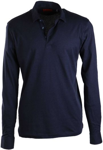 Suitable Stretch Longsleeve Polo Navy