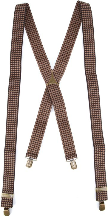 Suitable Suspenders Brown Pied De Poule