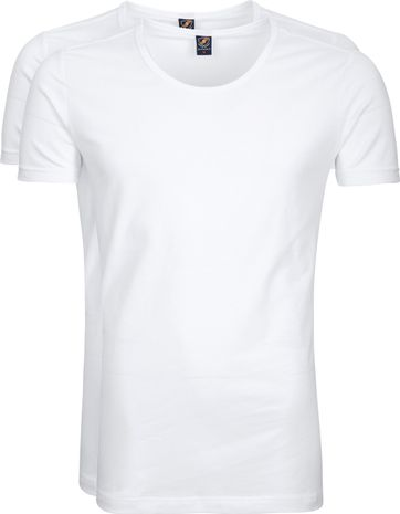 Suitable T-shirt 2-Pack Deep O-Neck White
