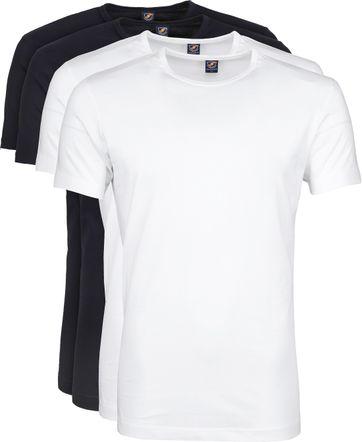 Suitable T-shirt 4-Pack O-Ausschnitt Weiß Dunkelblau