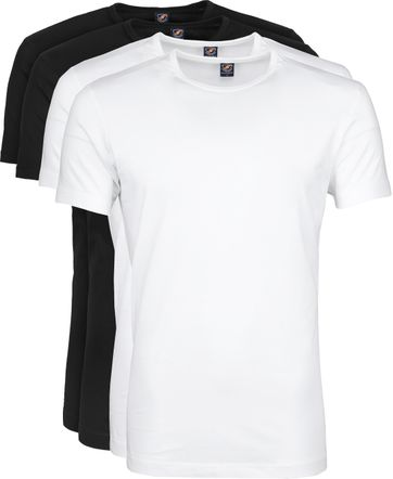 Suitable T-shirt 4-Pack O-Neck Wit Zwart