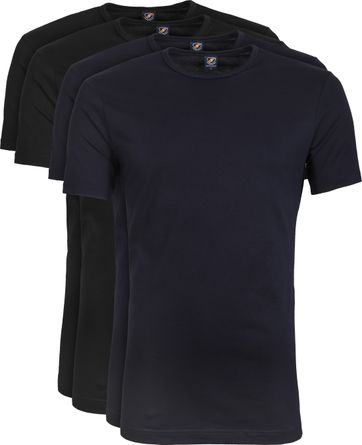 Suitable T-shirt 4-Pack O-Neck Zwart Navy