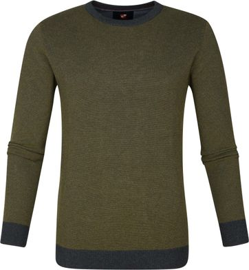 Suitable Thomas Pullover Donkergroen