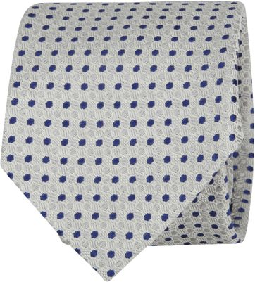 Suitable Tie Blocked Dots Grey Navy