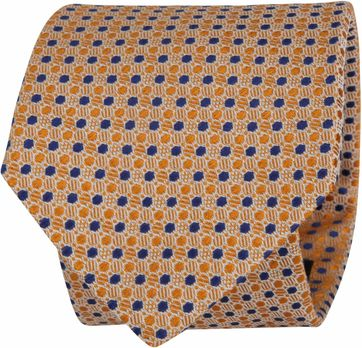 Suitable Tie Blocked Dots Orange Navy