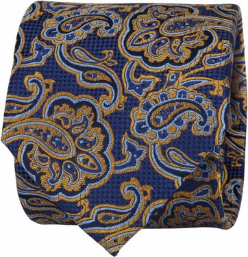 Suitable Tie Paisley Navy Gold