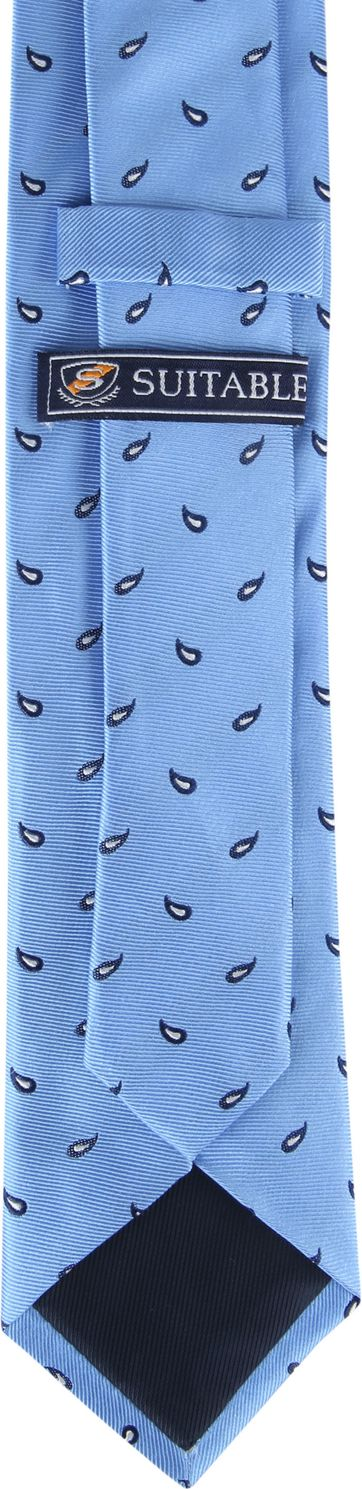 Suitable Tie Twill Paisley Blue